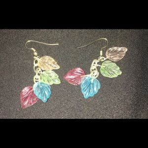handmade multi colored leaf dangle earrings